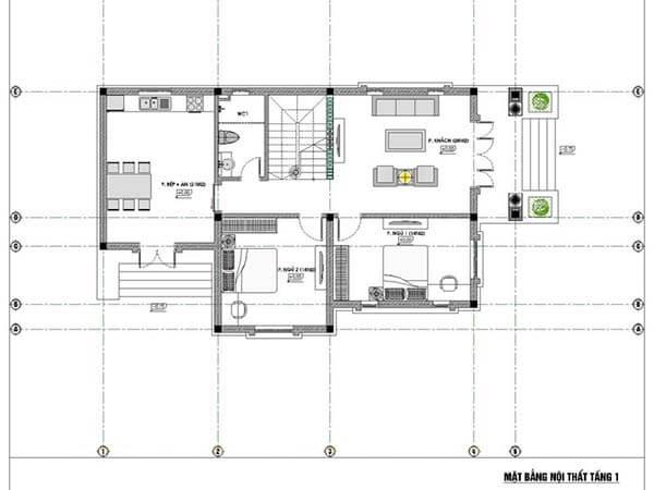 Bản vẽ mẫu nhà 2 tầng mặt tiền 8m 4 phòng ngủ