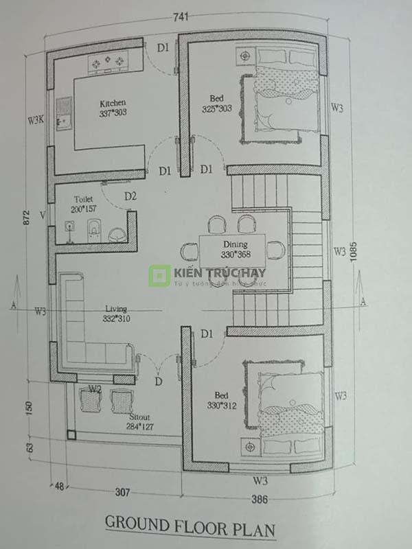 Bản vẽ mặt bằng nhà cấp 4 1 tầng 2 phòng ngủ