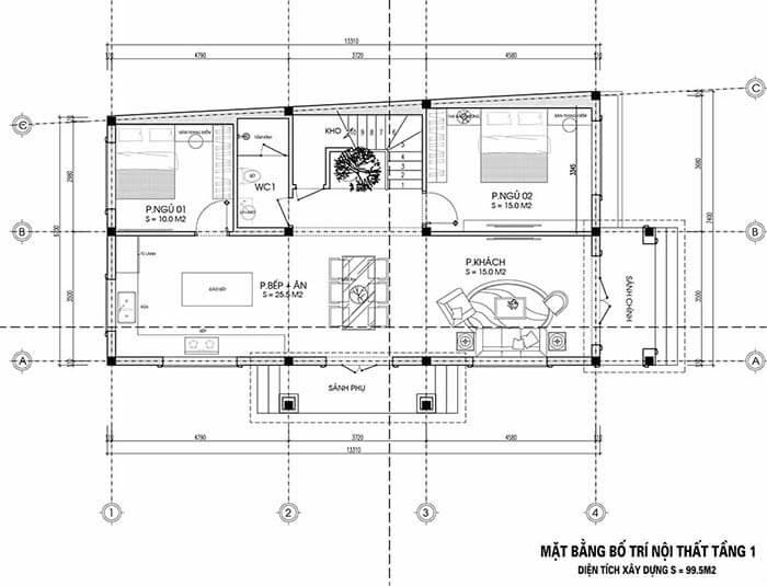 Thiết kế nhà rộng 7m dài 13m