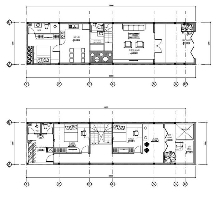Bản vẽ mẫu nhà ống 2 tầng mái thái 5x20m