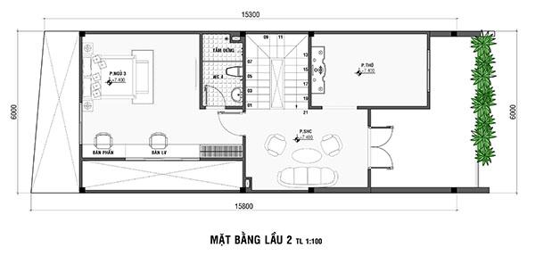 Bản vẽ thiết kế nhà mặt tiền 6m 3 tầng
