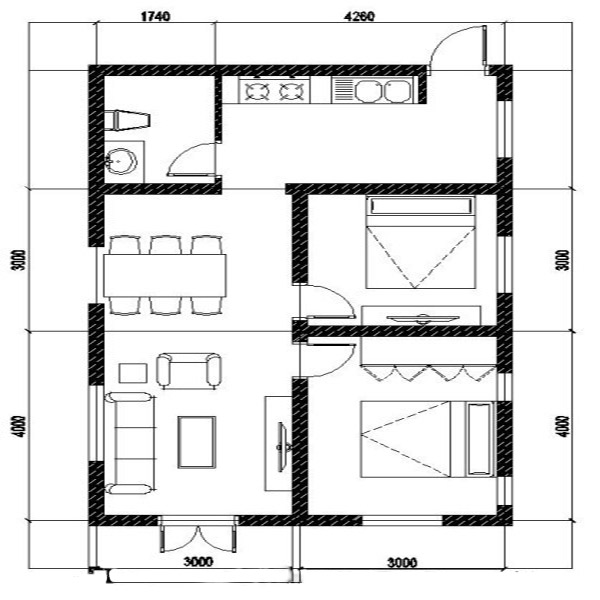 Bản vẽ thiết kế nhà cấp 4 mặt tiền 6m
