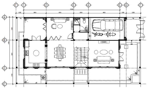 Bản vẽ thiết kế nhà mặt tiền 8m sâu 15m