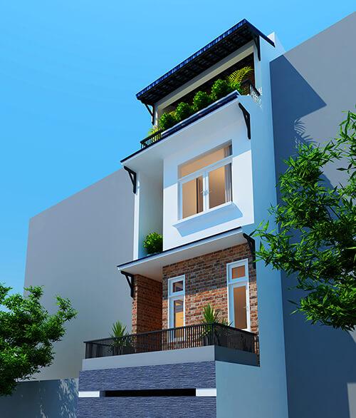 Mẫu thiết kế nhà phố 4x12 3 tầng 1 tum