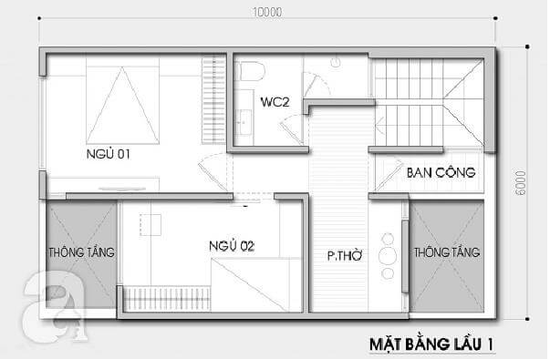 Thiết kế nhà 2 tầng 3 phòng ngủ 60m2