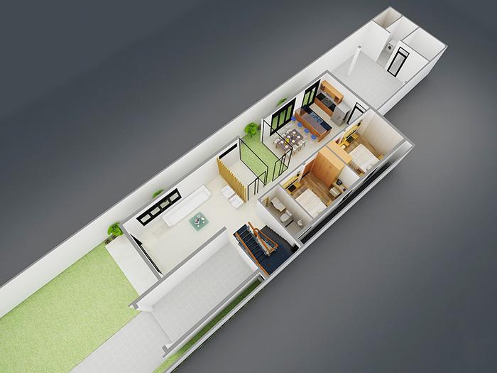 Thiết kế nhà ngang 7m dài 20m