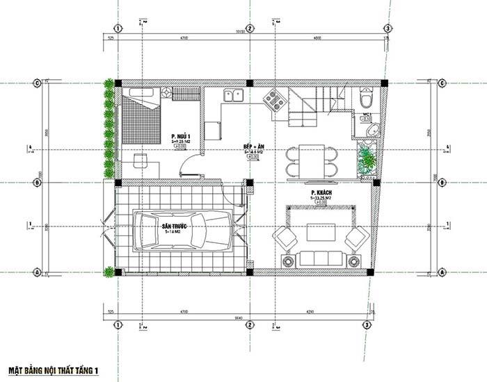 Thiết kế nhà rộng 7m dài 9m